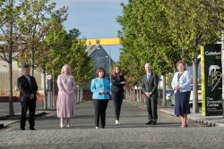 Steve Orr, Catalyst; Kirsty McManus, IoD; Economy Minister Diane Dodds; Dr Jayne Brady MBE, Belfast Digital Innovation Commissioner; Michael Ryan, Spirit AeroSystems Belfast; and Dr Joanne Stuart OBE, CEO of Northern Ireland Tourism Alliance.