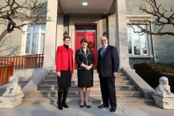 First Minister Arlene Foster is pictured with Barbara Woodward, Britain's Ambassador to China and Paul Kavanagh, Ireland's Ambassador to China during a meeting in Beijing.