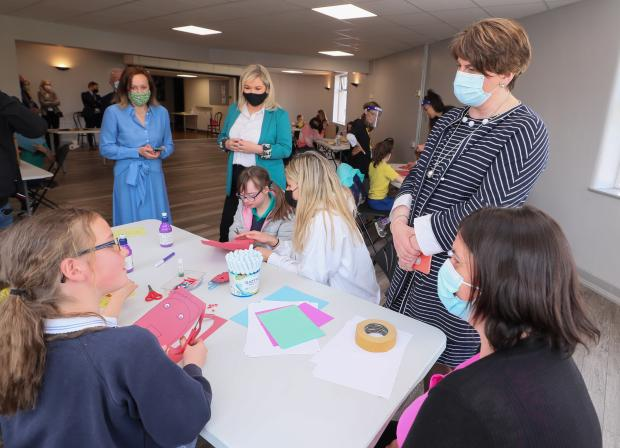 - First Minister Arlene Foster and deputy First Minister Michelle O'Neill caught up with some budding artists at the Strand's arts and crafts after-school workshop.