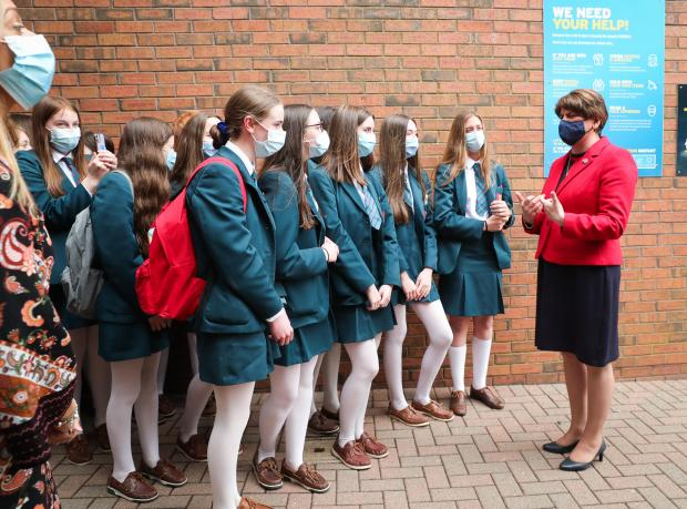 First Minister Arlene Foster meets pupils during a visit to Banbridge Academy.