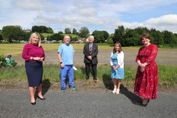 The Ministers are pictured with health centre professionals Dr John Porteous, and Maria Nugent-Murphy
