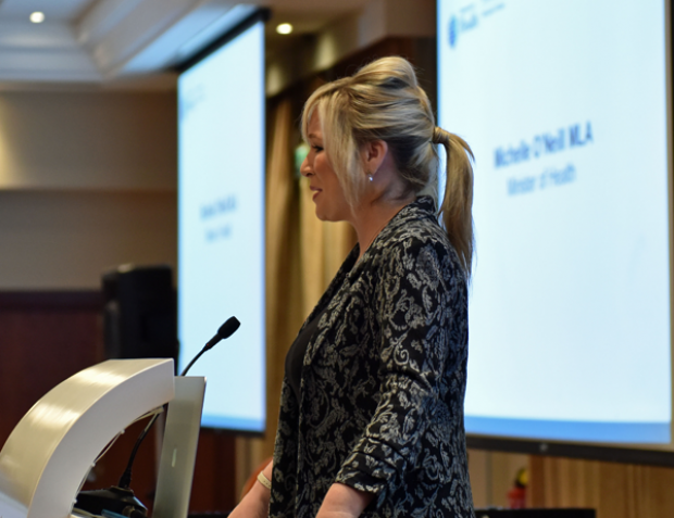 Minister Michelle O'Neill as she praised the exceptional achievements of staff in the Northern Health and Social Care Trust (NHSCT) at the annual Leadership Conference and Chairman's Recognition Awards